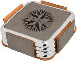 Leatherette Square Coaster Set with Silver Edge -Gray  Square Leatherette Coaster w. Silver Trim